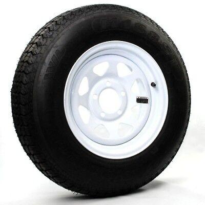 Two Trailer Tires On Rims ST205/75D15 F78-15 205/75-15 LRC 5 Lug White Spoke