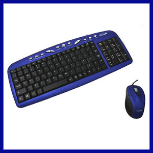 Keyboard and Mouse Wired Bundle BCL USB Optical Multimedia Blue/Black LK860, NEW