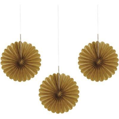 Mini Paper Fans (3 Gold Mini Tissue Paper Fans Birthday Party Decorations Wedding)