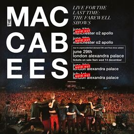 2 x Maccabees standing tickets Alexandra Palace Friday 30th June