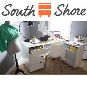 NEW SOUTH SHORE SEWING CRAFT TABLE 7550728 212677947 CREA SEWING CRAFT TABLE ON WHEELS PURE WHITE