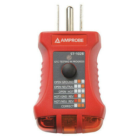 Amprobe St-102B Receptacle Tester With Gfci,110To 125Vac