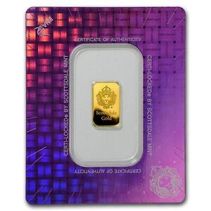 2 Gr. Lingotin Barre Or Pur Scottsdale Fine Gold Bullion Bar 24K
