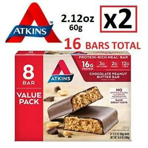 2 NEW ATKINS PROTEIN-RICH MEAL BARS 231480615 2 BOXES OF 8 BAR Chocolate Peanut Butter SNACKS EXP MARCH 19 2019