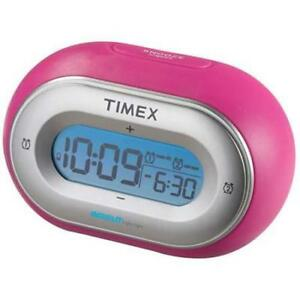 Timex Indiglo Pink Jelly Easy Set Dual Alarm Clock