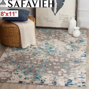 NEW SAFAVIEH 8x11 MONACO RUG MNC225E 244472692 ZOEY GREY/LIGHT BLUE AREA