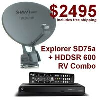 Explorer SD-75a Shaw Direct RV Satellite Dish+HDDSR 600HD Receiv
