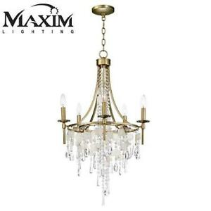 NEW 5 LIGHT CANDLE CHANDELIER 14425CZGS 211253801 MAXIM LIGHTING GOLD SILVER WIDE TAPER