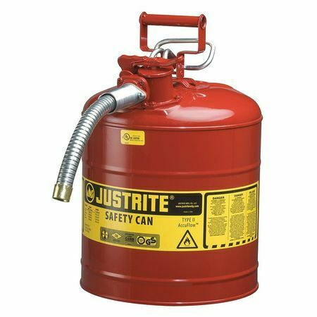 JUSTRITE 7250130 5 gal. Red Steel Type II Safety Can for Flammables