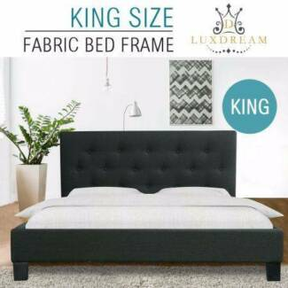Charcoal Linen Bed Frame-King NEW