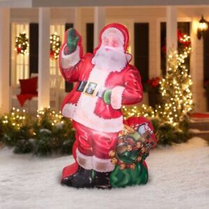 7ft Photorealistic Airblow - Ilustrated Santa w/ Gift bag - FJN