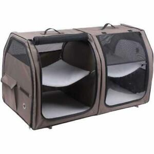 One for Pets Double Cat Show House/Portable Dog Kennel/Shelter, Tan 24?x24?x42? - Car Seat-Belt Fixture Included Cond...