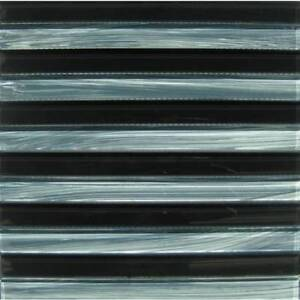 HUGE SALE !!! GLASS MOSAIC WITH BLACK AND GREY STRIPS