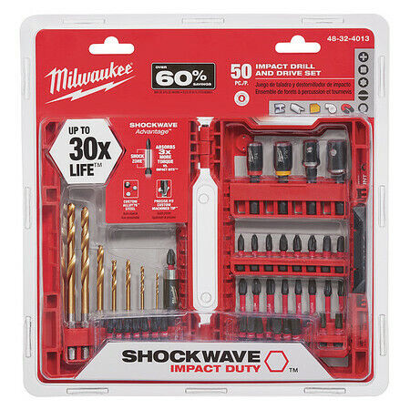 "MILWAUKEE 48-32-4013 Shockwave Screwdriver Bit Set, 1/4"" Shank, 50 pc."