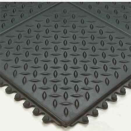 """Wearwell 470 Black Interlocking Antifatigue Mat 3 Ft. W X 3 Ft. L, 1/2"""""""