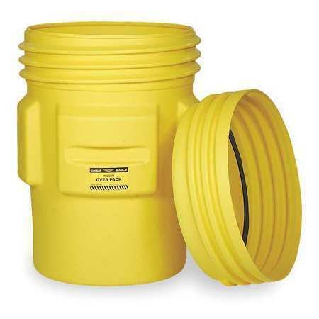 EAGLE 1661 Overpack Drum,Open Head,65 gal.,Yellow
