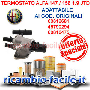 termostato valvola termostatica alfa 147 156 1 9 jtd 8v 110 115 cv 60816681 ebay. Black Bedroom Furniture Sets. Home Design Ideas