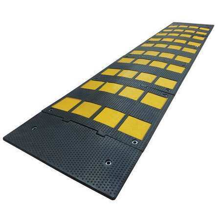 Zoro Select 29Nh25 Speed Bump, Rubber, 1 1/8 In H, 9 Ft L, 24 In W, Black/Yellow