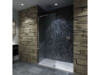 Walk-in shower screen and tray side screen 1400x900