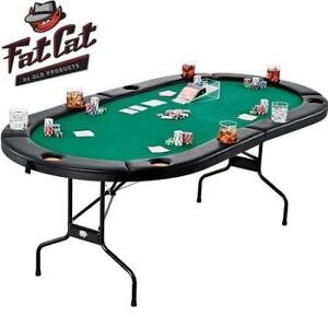NEW* FOLDING 10 PLAYER POKER TABLE 64-2039 207015688 FAT CAT TEXAS HOLD 'EM CASINO GAME