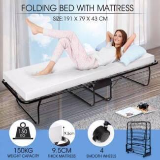 Portable Folding Bed White Mattress NEW
