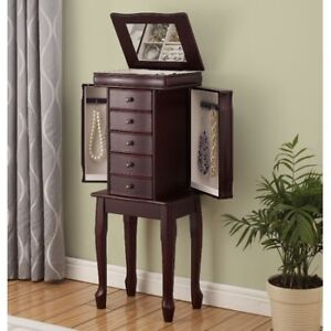 Jewelry Armoire with 2 doors and 5 drawers