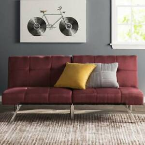 New Modern Red Futon Sofa / Couch Bed (Can Deliver)
