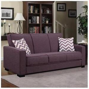 New, Puebla Sleeper Sofa, Purple Linen / Chevron (open box) *PickupOnly