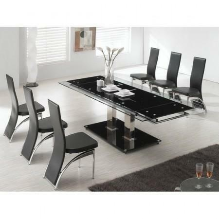 glass dining table and 8 chairs ebay