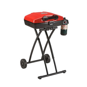 The Portable Coleman Sport Roadtrip Propane Grill has a wheeled