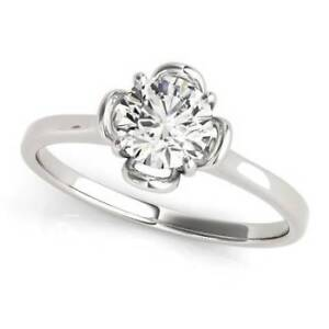 2.53 carat tw Floral Diamond Engagement Ring in 14K White Gold