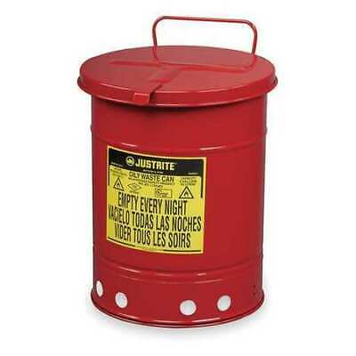 Justrite 09310 Oily Waste Can10 Gal.steelred