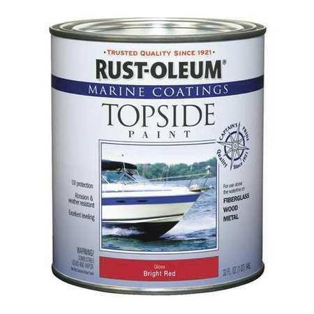 RUST-OLEUM 207004 Topside Paint,Bright Red,Alkyd