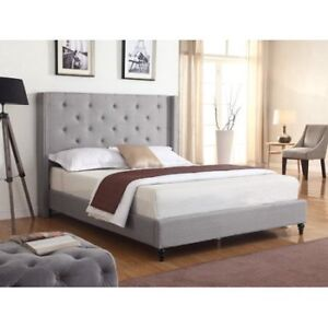 Priestley Upholstered Platform GREY KING size Bed from Wayfair