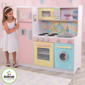 Child's Wooden Play Kitchen Inc Plastic Pans and Food