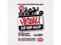 History of Hip-Hop @ Lockside Camden, Saturday 8th April 2017 - GBP 3 Tickets