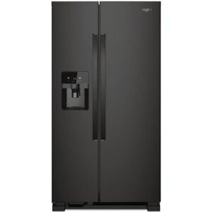 "50% OFF 33"" Whirlpool Black Stainless Steel Side-By-Side Refrige"