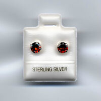 New Sterling Silver Garnet Stud Earrings