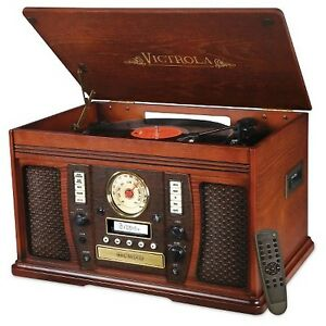 Victrola Recordable 7-in-1 Classic Wood 3-speed Turntable with B