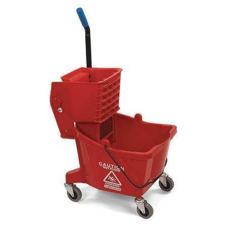 CARLISLE 3690805 Mop Bucket,Side Press Wringer,26qt,Red
