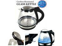 Messini 1.6L, 2200W, Cordless, Boil Dry & Overheat Protected, Illuminated Glass Kettle