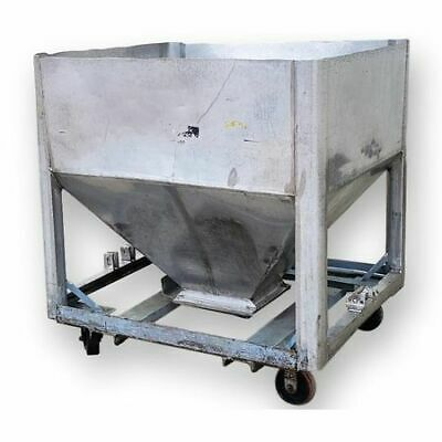 Used 25 Cu. Ft. Stainless Steel Tote Bin With Slide Gate