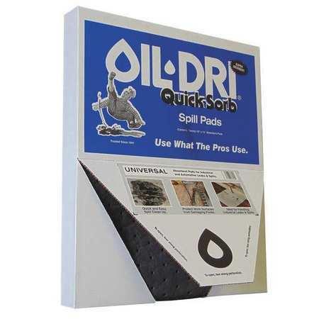Oil-Dri L71320 Absorbent Pad, Absorbs 2.5 Gal. Universal, Pk 20 ,Gray