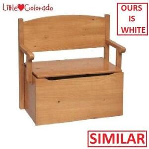 NEW LITTLE COLORADO BENCH TOY BOX 17WH 204759980 WHITE