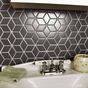 30% off on black rhombus pattern glossy finish ceramic mosaic