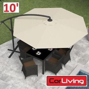 NEW* CORLIVING 10' OFFSET UMBRELLA PPU-410-U 188371117 PATIO WARM WHITE SHADE PATIO FURNITURE DECOR OUTDOOR