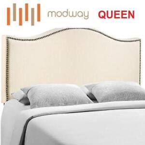 NEW MODWAY QUEEN HEADBOARD MOD-5206-IVO 209403356 UPHOLSTERED CURL NAILHEAD IVORY