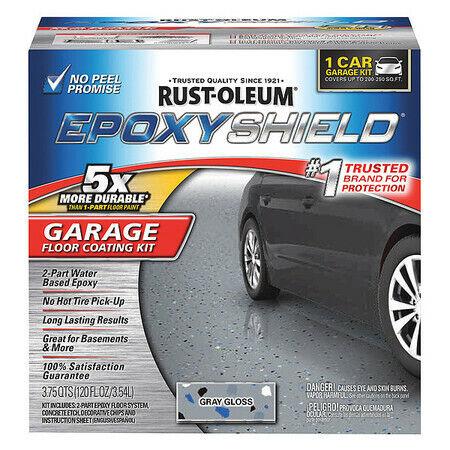 Epoxyshield 251965 Garage Floor Kit Amine Cured Epoxy 1 Car Kit, Gloss Gray