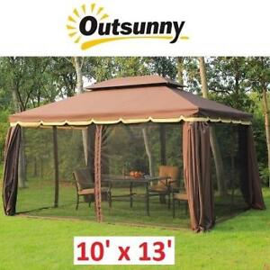 NEW OUTSUNNY 10' x 13' GAZEBO 01-0879 176861666 CANOPY DOUBLE TOP MESH NETTING PRIVACY CURTAINS COFFEE