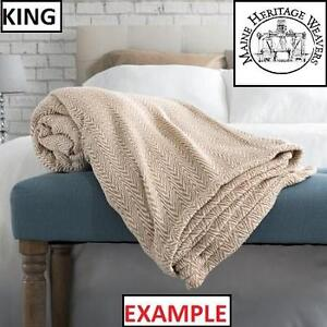 """NEW MHW CABLE WEAVE COTTON BLANKET - 117022890 - MAINE HERITAGE WEAVERS PRESHRUNK LOOM WOVEN KING 108"""" x 98"""" NATURAL"""